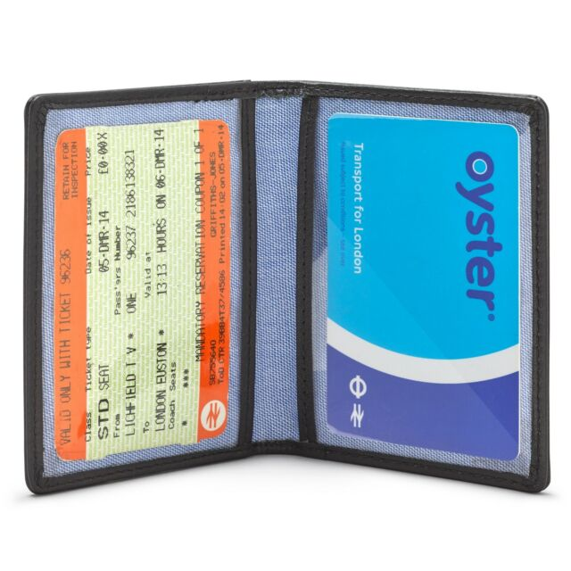 Thick Chunky leather bus train travel clear id card wallet holder Many colours