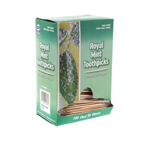 Individual Cello Wrapped Toothpicks Mint 1000 Ct Box
