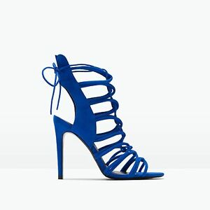95f108dd5b7 Zara Cobalt Royal Blue Slingback Lace Up Strappy High Heel Sandals ...