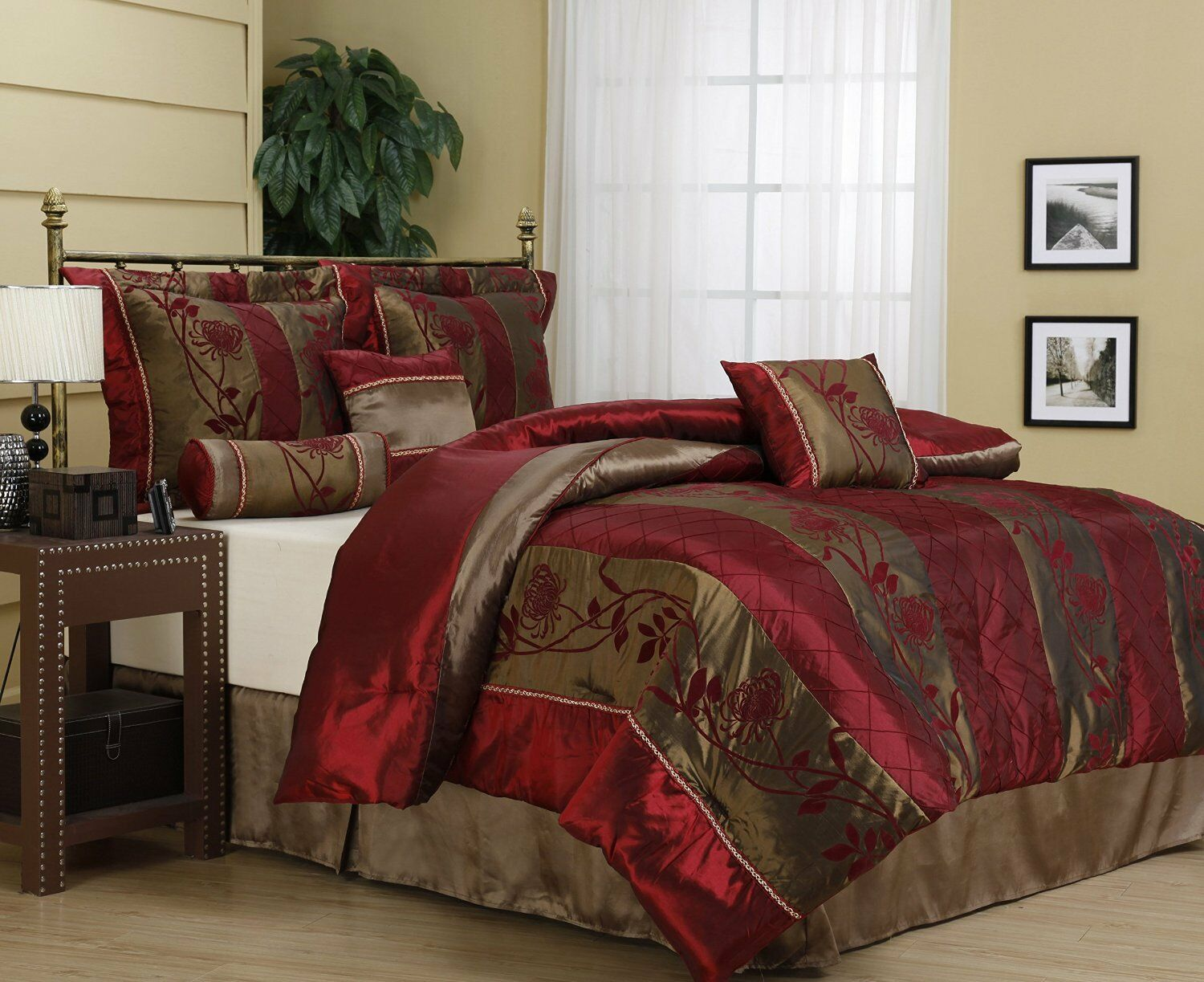 Luxurious 7 Piece Embroidered Floral Red & gold Comforter Set, W pink Motif New.