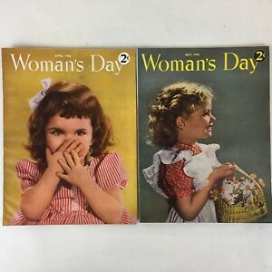 Lot-of-2-Vintage-1946-Woman-039-s-Day-Magazines-Food-Fashion-DIY-Articles-amp-Ads