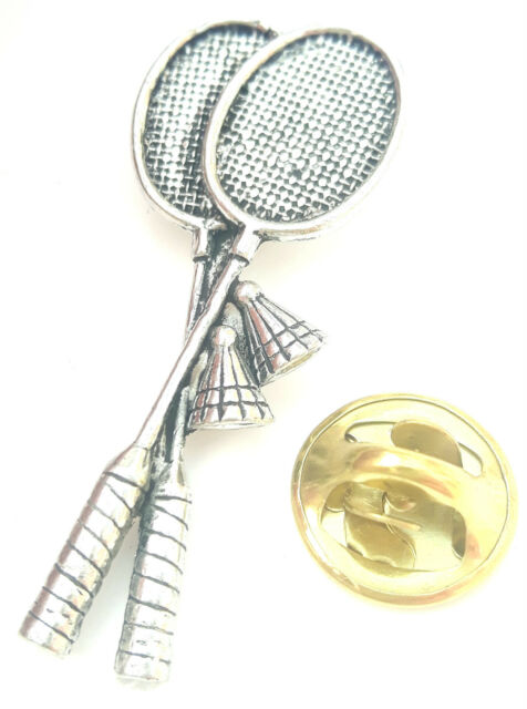 Badminton Rackets Handcrafted from English Pewter in the UK Lapel Pin Badge