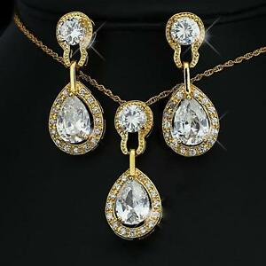 Other Fine Jewelry Sets Industrious Luxury Set Necklace Zirconia Earrings White 750 18 Kt Gold-plated S1780