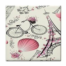 Paris Tower Bike Balloon Home Decor Ceramic Feature Wall Tile Coaster Mosaic