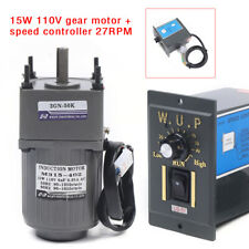 15w 110v Gear Motor Electric Variable Speed Controller 150 27rpm High Torque Us