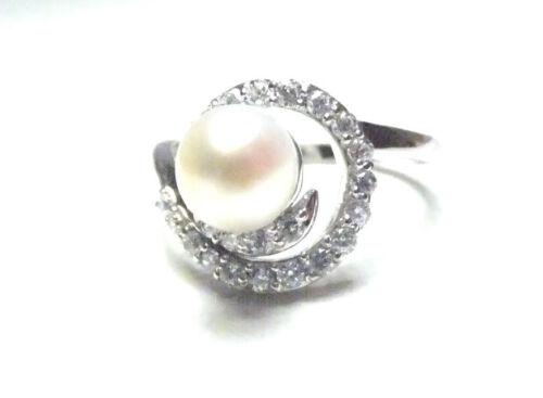New Design  Freshwater Pearl White Topaz Ring 925 STERLING Silver .925 Organic