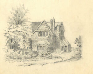 Late 19th Century Graphite Drawing - View of a House