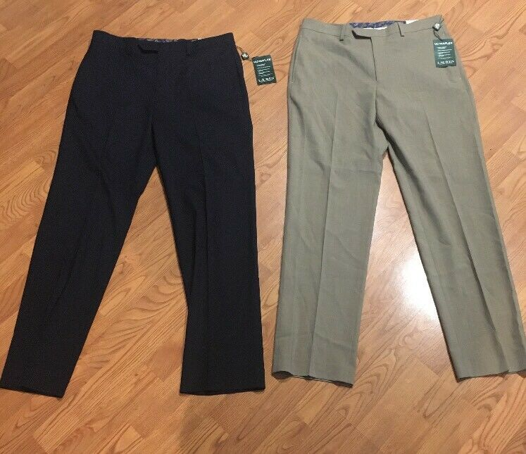 Lote de 2 Pantalones para hombres Ralph  Lauren UltraFlex 33X32 Azul Marino Nuevo con etiquetas Navy & Bronceado al por menor  180  moda clasica