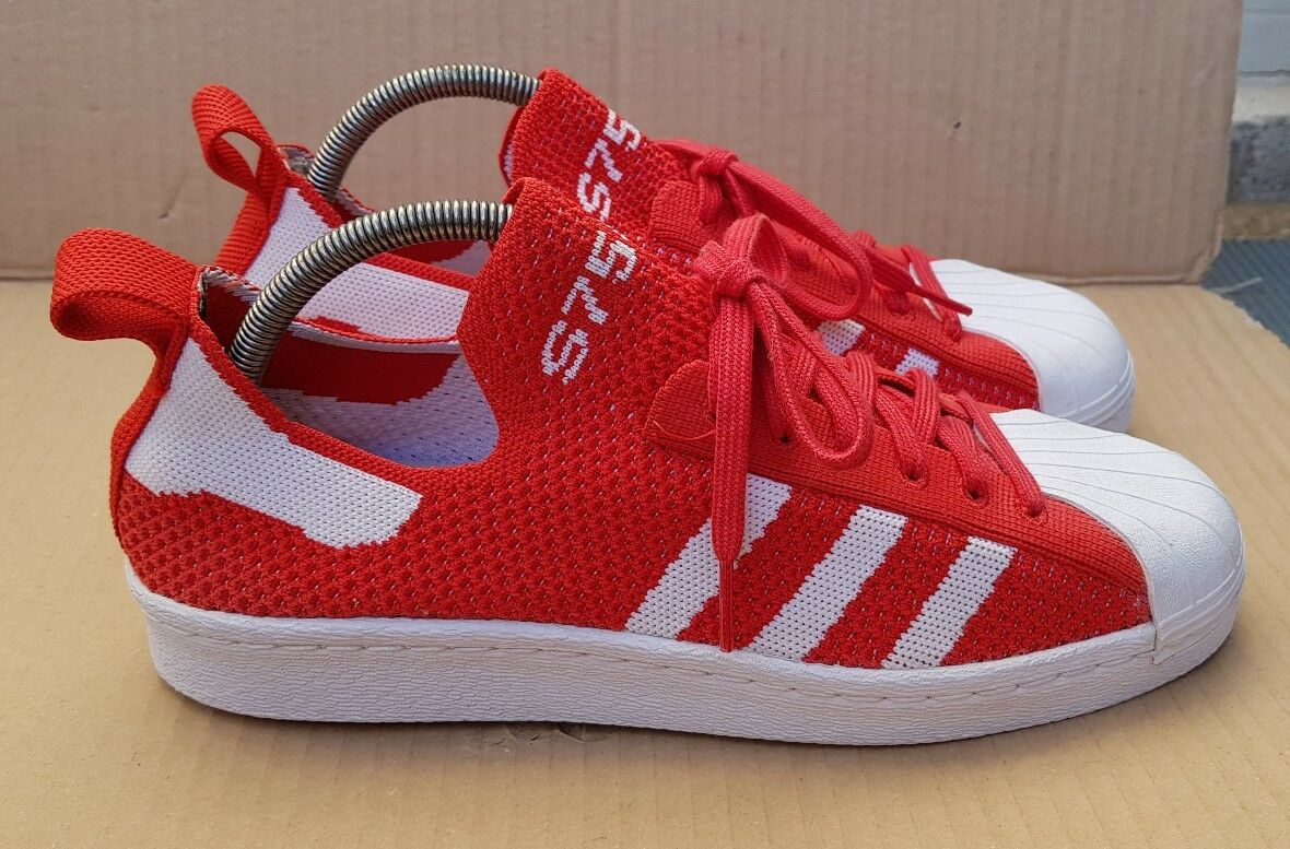 ADIDAS SUPERSTAR 80's PRIME KNIT ROT & SIZE Weiß EDITION SIZE & 7.5 UK WORN ONCE 86124f