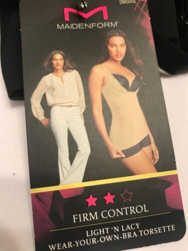 Maidenform DM5002 Firm Control Lacy WYOB Torsette Shaping Top Black