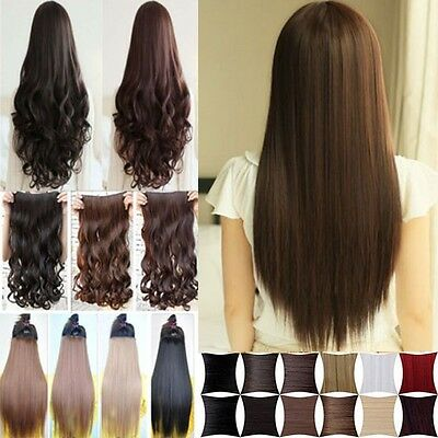 3/4 full head thick synthetic hair clip in hair extensions one piece 5 clips 3M2
