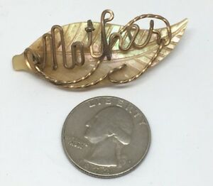 Vintage Gold Front Mother Leaf Brooch