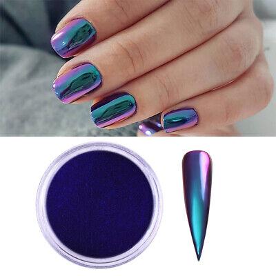 Born Pretty 0 2g Chameleon Mirror Effect Chrome Powder Blue Nail Art Pigment Ebay