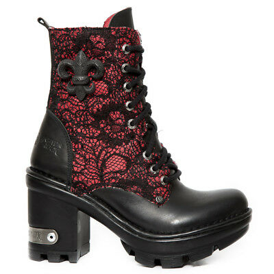 New Rock Schuhe Damen- Stiefelette Gothic Stiefel Zip High Heels Plateau Rot