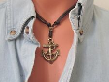 Mens ANTIQUE BRASS NAUTICAL ANCHOR on Brown LEATHER CORD Surfer Choker NECKLACE