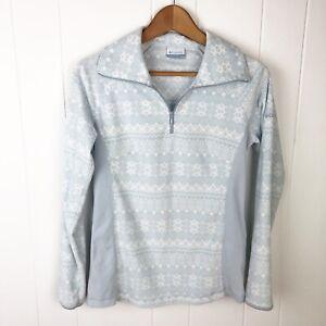 Columbia-Womens-S-Small-Fleece-Halfzip-Pullover-Snowflake-Print-Blue-X24