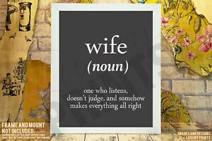 Wife-Noun-Gift-Present-Keepsake-Canvas-Memory-Doesn-039-t-Judge