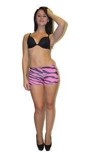 532136ab1836 Detalles de Mujer Rosa y Negro Cebra Estampado Leopardo Pantalones Cortos,  Shorts Muy Cortos