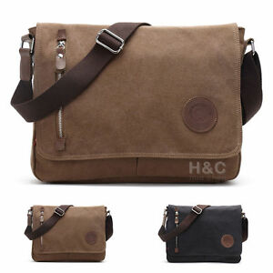 Image Is Loading Men 039 S Vintage Canvas Schoolbag Satchel Shoulder