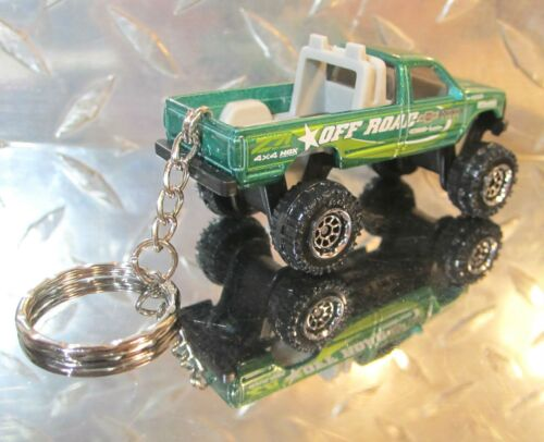 2018 Matchbox Green Chevy K1500 Pickup Truck 4X4X4 Off Road Custom Key Chain