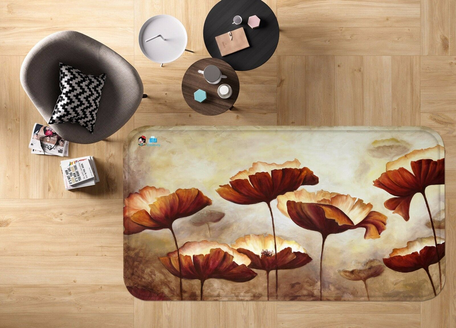 3d las hojas de lotus antideslizante alfombra de maletero calidad elegante alfombra de
