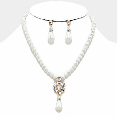 Jewelry & Watches Earring Sets E2 Smart Cream/clear/gold /pearl Crystal Bridal/prom Necklace