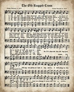 Details About The Old Rugged Cross Gospel Hymn Words Music Metal Plaque Sign R130