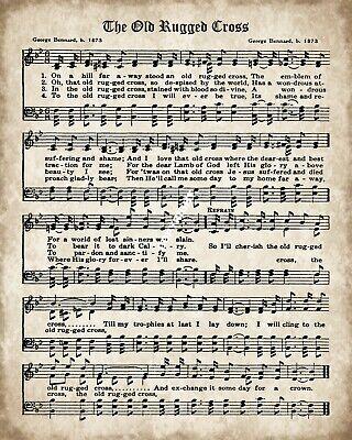 The Old Rugged Cross Gospel Hymn Words Music Metal Plaque Sign R130 Ebay