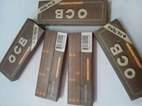 Ocb Natural Medium 1 1//4 Slim Rolling Papers+Filter Tips Unbleached 5 Booklets