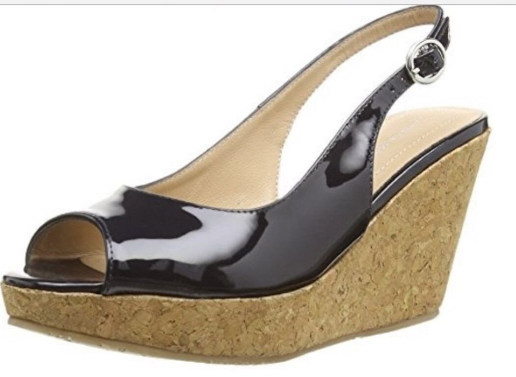 VANILLA MOON NAVY PATENT LEATHER MARIE SLING BACK CORK WEDGE PEEP TOW SANDAL