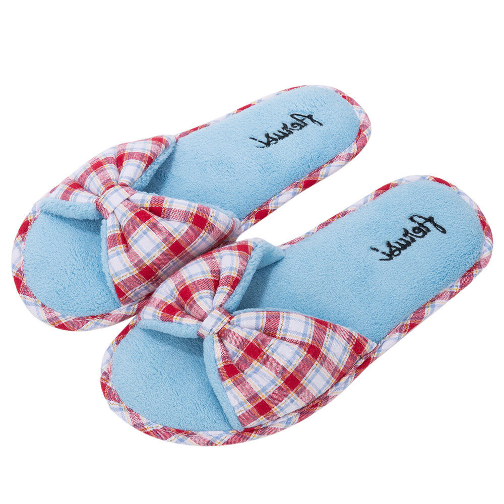 Red Spa Plaid Women's Bowknot  Open Toe Fleece Spa Red Slippers Bedroom House Shoes 4d31a7