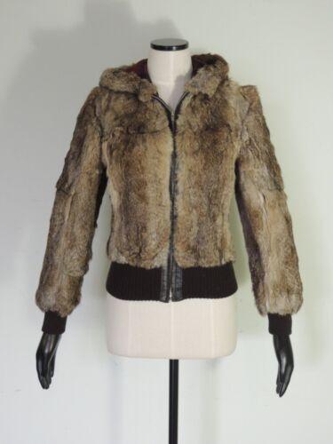Vintage 1970s Rabbit Fur Leather HOODY Bomber Jack