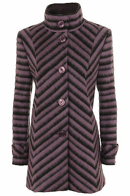 Busy Ladies Purple And Black Stripe High Neck Wool Blend Jacket Coat