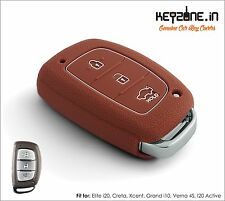 KeyZone Silicone Smart Key Cover fit for i20 Elite/i20 Active/Verna 4S (Cognac)