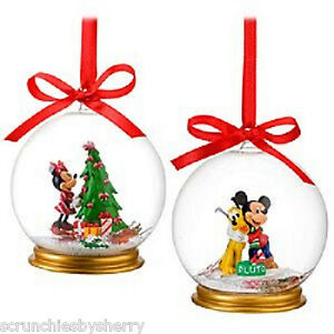 2-Disney-Store-2010-Glass-Ornament-Mickey-Minnie-Pluto-SnowGlobe-Retired-NIB