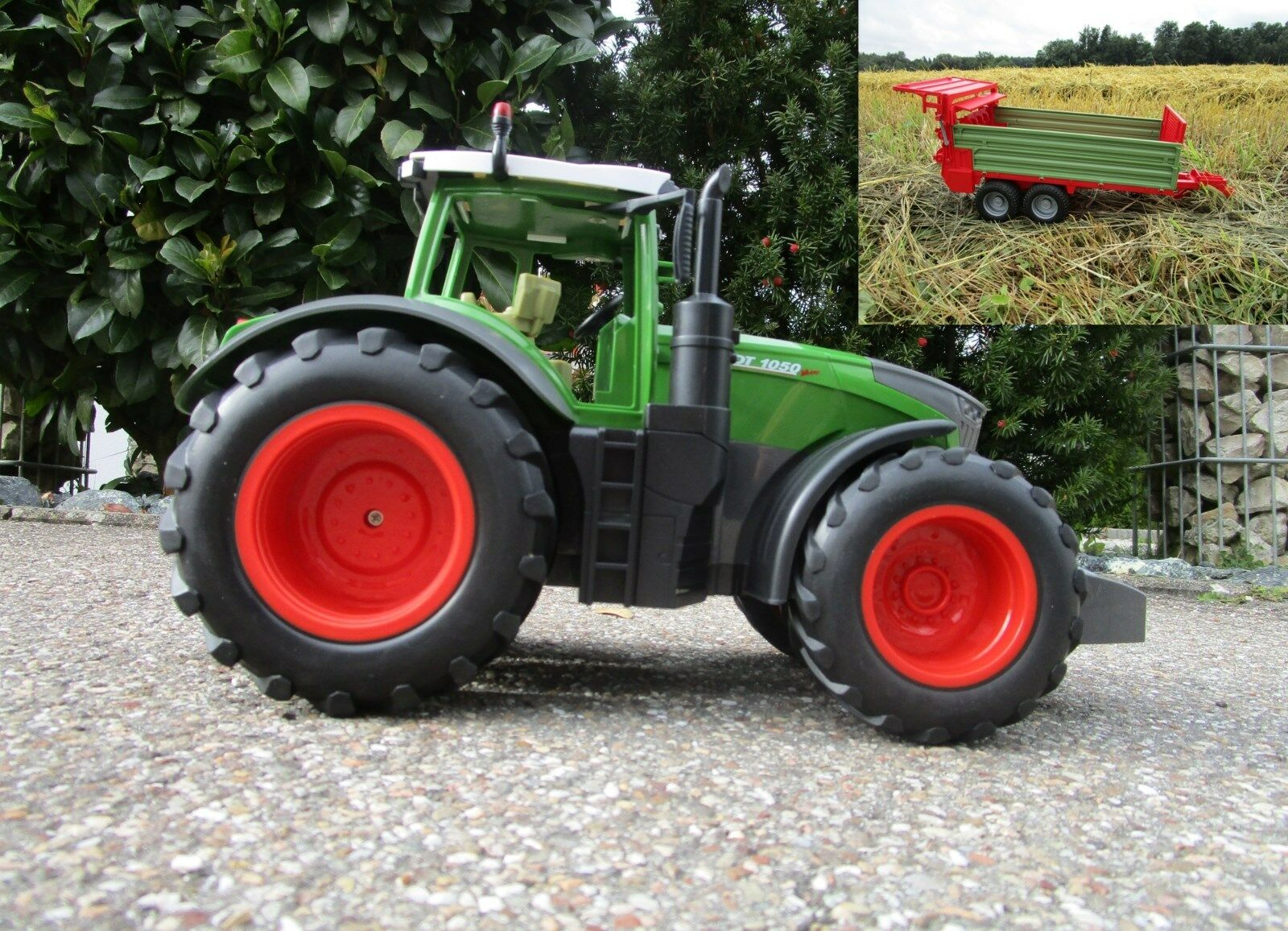 2RC Traktor Fendt 1050 Vario mit Anhänger-Stalldungstreuer 1:16