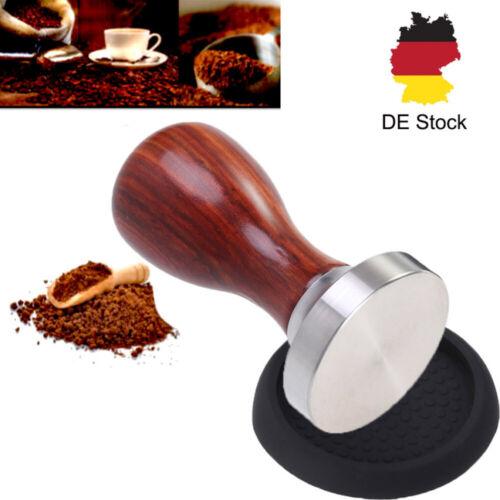 Tamper Set 51 mm Espresso Stempel aus Edelstahl und Holzgriff Matte