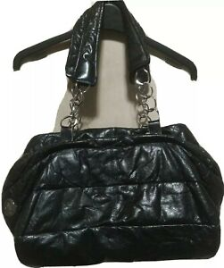 GUC MONO CLAIRE black leather puffer 2-way shoulder/tote bag w/silver hardware