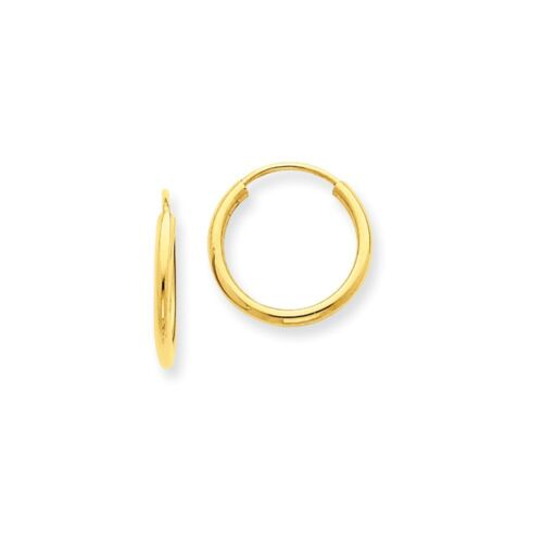Real 14kt Yellow Gold 1.5mm Polished Round Endless Hoop Earrings