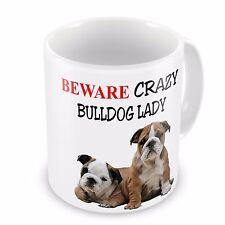 Beware Crazy BRITISH BULLDOG LADY Funny Novelty Gift Mug