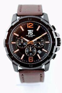 Herrenuhr-Chronograph-T5-schwarz-matt-46mm-Datum-Lederarmband-mit-Uhrenbox