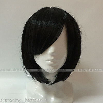 Women's Short Heat Resistant Synthetic Straight Bob Wigs with Side Bangs