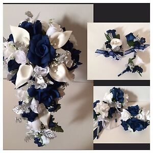 14 piece package wedding bridal bouquet package silk flower blue image is loading 14 piece package wedding bridal bouquet package silk mightylinksfo