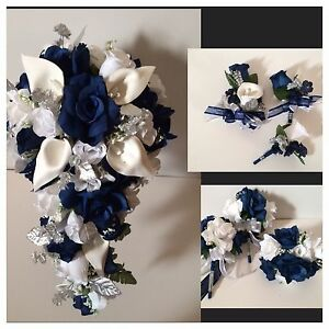 22 piece package bridal bouquet package navy blue lily silk wedding image is loading 22 piece package bridal bouquet package navy blue mightylinksfo