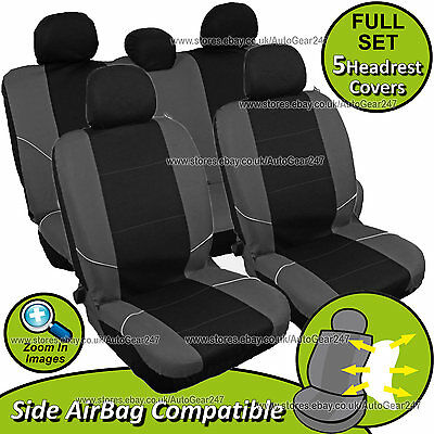 Universal Black/Grey Front Rear Car Seat Covers Set.Washable & Airbag Compatible