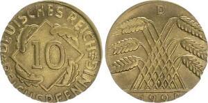 10 Pfennig J.309 1924D Lack Coinage: On 5 Pfennig Schrötling Embossed, 2,5g Vz