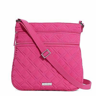 VERA BRADLEY Triple Zip Hipster Crossbody FUCHSIA Pink Tote Purse Bag $88 NEW