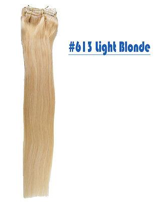 "20"" Premium Clip In Remy Human Hair Extension Black Brown Blonde"
