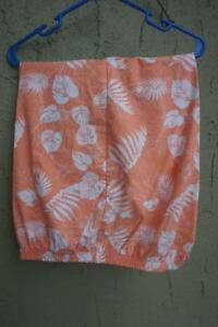 Woman-s-Tropical-Long-Shorts-w-Pockets-Stretch-Waist-Size-18w-Palm-Fronds-Coral
