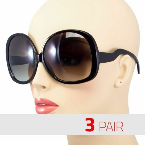 3 Pair Huge Extra Oversized Large Women Retro Vintage Round Sunglasses Black Us